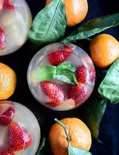 Pin for Later: 13 Sparkling Cocktails to Savor Before the Prosecco Shortage Hits Strawberry Satsuma Prosecco Sangria Get the recipe: strawberry satsuma Prosecco sangria. Champagne Cocktail, Cocktail Drinks, Fun Drinks, Yummy Drinks, Beverages, Champagne Recipe, Cocktail Ideas, Drinks Alcohol, Sparkling Wine