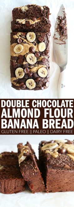The best double chocolate banana bread recipe you'll ever need! Made with almond… The best double chocolate banana bread recipe you'll ever need! Made with almond flour, it's gluten free, dairy free, and paleo! Paleo Dessert, Vegan Desserts, Dessert Recipes, Chocolate Desserts, Chocolate Cupcakes, Chocolate Chips, Soup Recipes, Flourless Chocolate, Dinner Recipes