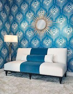 Jaw dropping. Elegant striped peacock blue sofa & wallpaper. #laylagrayce #designinspo #furniture