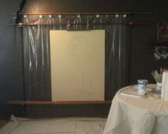 Large Painting Easel: Hang painter's tarp/canvas drop cloth behind for overspray and feel confident about painting big n messy! Has link to blog with instructions for constructing this beauty.