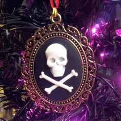 Merry Gothic Christmas Skull Cameo Ornament by Blackenedruby, $5.00