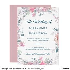 Spring blush pink modern floral watercolor wedding invitation
