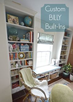 Two Ikea Billies and one Borgsja to make this custom wall of office built-ins and a bench seat.