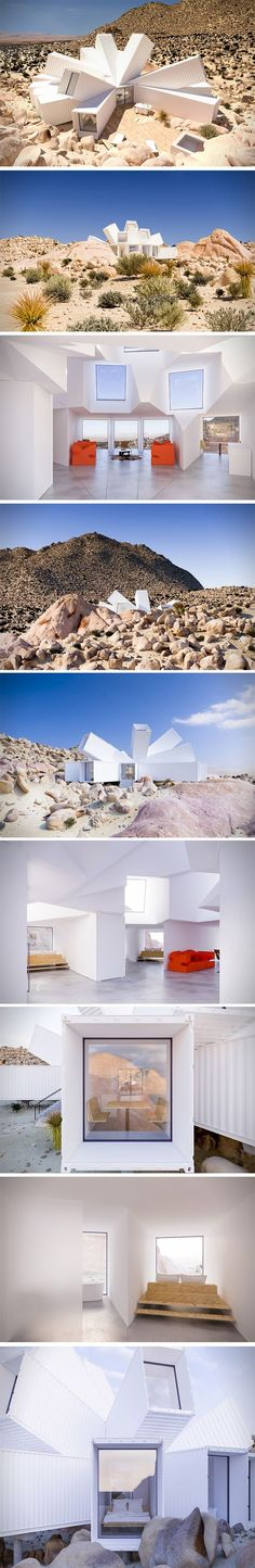 Container House - This Joshua Tree Residence is a true thing of beauty – breaking out from its core and exploding in all directions. The exterior reaches out like branches of a tree, soaking up every ray of light the day will give. The interior design of this Joshua Tree Residence is given a wide envelope with giant sculpted ceilings – eluding the reality that the house is in fact a construction of McLean's transport containers. - Who Else Wants Simple Step-By-Step Plans To Design And ...