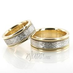 Antique Rough Finish Wedding Ring Set; his/hers together 18K gold - ~2000