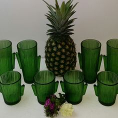 Taking photos of our cactus glasses that will be listed today.