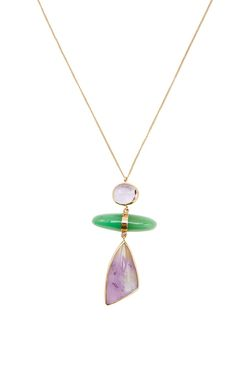 One Of A Kind 14 K Yellow Gold Amethyst Freeform And Chrysoprase Three Drop…
