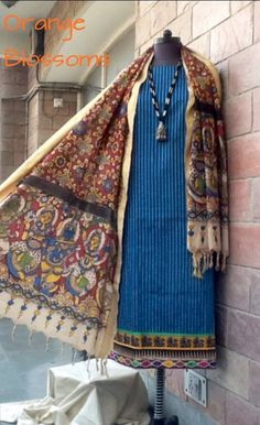Pen Kalamkari cotton dupatta with a chanderi kurta at www.facebook.com/orangeblossomwomensclothing