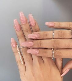 Best Picture For  acrylic nails winter  For Your Taste  You are looking for some… Aycrlic Nails, Pink Nails, Cute Nails, Pretty Nails, Coffin Nails, Peach Nails, Simple Acrylic Nails, Fall Acrylic Nails, Long Nail Designs