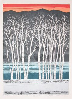 Dawn  F. Fujita  1987  woodblock print