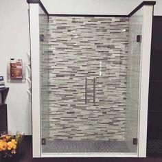 custom cut frameless shower door by Hopkins Glass MN Modern Shower Doors, Frameless Shower Doors, Glass Shower Doors, Glass Shower Enclosures, Custom Glass, Minneapolis, Bathroom Ideas, Mirror, Home Decor