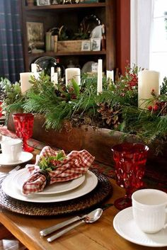 Christmas decoration natural materials table centerpiece wooden box fir branches candles