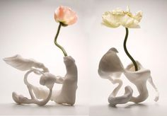 Marcel Wanders 'airborne snotty vase'  two of a series of 5 models for Cappellini.    The design is based on 3D scan of an airborne snotty and finally produced using a digital prototyping technology.   Materials: Polyamide  Dimensions: 15 x 15 x 15 (cm)