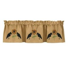 The Country Porch features Crow and Sunflower lined applique curtain valances from Park Designs. Western Decor, Country Decor, Kitchen Curtains, Valance Curtains, Shower Curtains, Kitchen Orchard, Primitive Kitchen Decor, Primitive Country, Primitive Curtains