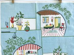 Vintage Linen Towel Kitchen Interiors Potted Plants Retro Decor Wall Hanging by NeatoKeen on Etsy