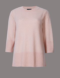 Pure Cashmere 3/4 Sleeve Jumper | M&S
