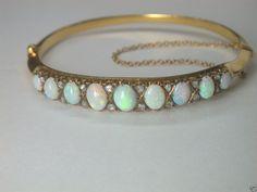 "Antique Vintage Estate Opal & Rose Cut Diamond Bangle Bracelet 14K 6.5"" 17 Grams"