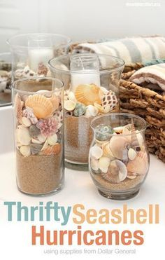 Beachy Summer Bathroom makeover thanks to and Dollar General. diy bathroom decor Beachy Summer Bathroom Makeover + FREE Bathroom Printable - How to Nest for Less™ Seashell Bathroom Decor, Seashell Crafts, Beach Crafts, Diy And Crafts, Seashell Decorations, Beachy Bathroom Ideas, Sea Theme Bathroom, Seashell Display, Beach Centerpieces