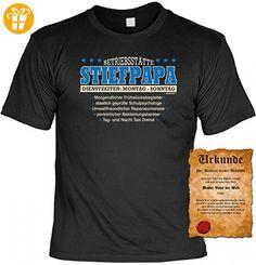 T-Shirt Set Urkunde - Betriebsstätte Stiefpapa - witziges Spruchshirt als Geschenk für Stiefvater Vatertag Geburtstag , Größe:L (*Partner-Link)