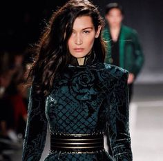 Bella Hadid walking the Balmain x H&M fashion show 2015