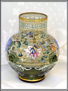 Moser Glass Vase | Exquisite Antique Moser Green Glass Enamelled Vase