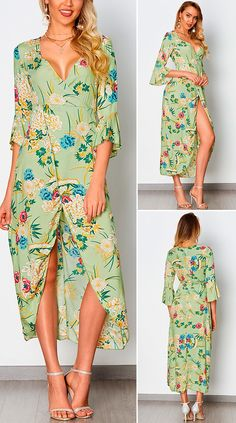 Green Random Floral Print V-neck Maxi Dress With Half Flared Sleeves HOT SALES 2020, beautiful dresses, pretty dresses, holiday fashion, dresses outfits, dress, cute dresses, clothes, classy & elegant, elegant style, mode trends 2020, trending, fashion, fashion looks, moda, women, beautiful, beauty, buy, sale, shop, shopping, vestidos elegantes, vestidos fofos, vestidos bonitos