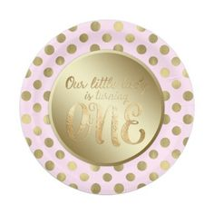 Little Lady Pink Gold 1st Birthday Party Paper Plate  sc 1 st  Pinterest & Pink Gold Faux Glitter Confetti 1st Birthday Name | CUSTOM PAPER ...