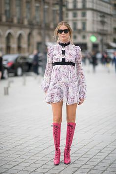 Chiara Ferragni is wearing a dress from Giambattista Valli seen in the streets of Paris during Haute Couture F/W 2016/2017 on July 4 2016 in Paris...