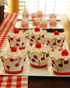 Cherry on Top Party Cupcakes in Cherries Jubilee Dessert Skirtz Cupcake Wrappers