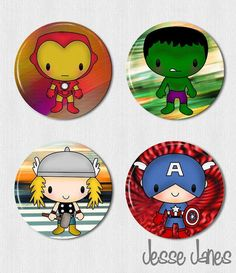 AVENGERS Set - Thor, Captain America, Ironman, Incredible Hulk - pinback buttons, toppers or magnets - please specify Avenger Party, 1st Birthday Themes, 6th Birthday Parties, Iron Man Theme, Minions Cartoon, Captain America Birthday, Black Panther Party, Hulk Avengers, Incredible Hulk