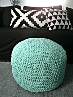 Light Mint Ottoman Pouf- Light Mint Footstool Crochet Pouf - Sea Salt Nursery Decor - Living Room Knit Ottoman Poufs - Furniture