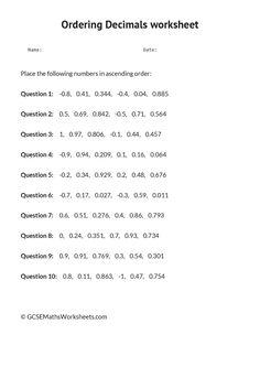 Comparing and ordering decimals worksheet grade 5