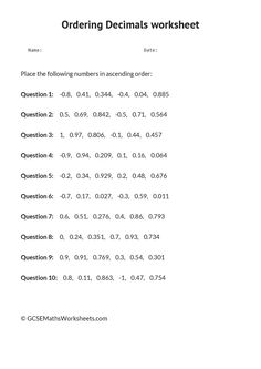Comparing and ordering decimals worksheet grade 5
