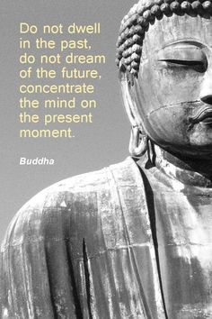 Do not dwell in the past, do not dream of the future, concentrate the mind on the present moment. #Buddha #Quote