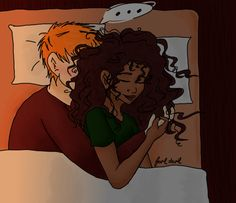 "Romione - Christmas Eve Slumber ""Hermione, do you know your hair tries to kill me in your sleep?"""