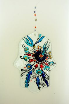 Glass Handpainted Wall Hamsa Hand Judaica Art Evil Eye by SophieRR, $41.00