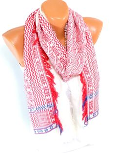 Scarf, Shawl, Cotton Scarf, fringed scarf, Fall Fashion Accessories, Thin cotton fabric, Women's fashion Accessories, Gift for Christmas - pinned by pin4etsy.com