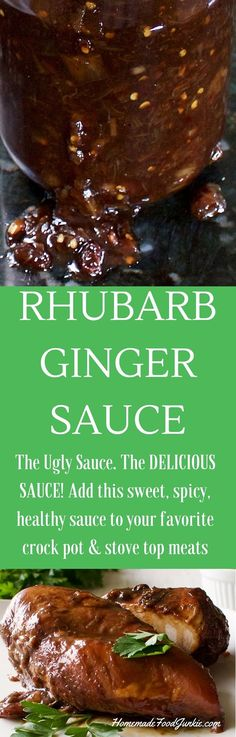 Rhubarb Ginger Sauce A Sweet, spicy glaze, meat marinade or crock pot add in. Full of Beneficial health properties from the rhubarb and ginger! EASY to make and holds w (Gluten Free Recipes Crock Pot) Canning Recipes, Crockpot Recipes, Chicken Recipes, Meat Marinade, Sans Gluten Sans Lactose, Healthy Sauces, Ginger Sauce, Rhubarb Recipes, Homemade Sauce