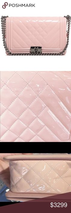 c0d4efc31f6f Auth Chanel Herringbone Boy Flap Pink New Medium Condition: Very good with  minor signs of