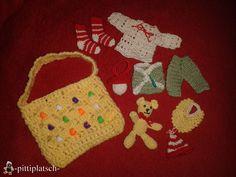 Babyparty-Mitbringsel für alle die das Geschlecht nicht wissen.. bestehend aus Tasche, Teddy, Lätzchen, Windel, Jäckchen, Hose, Söckchen. Mütze und Nuckel