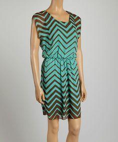 Love this Aqua & Brown Zigzag A-Line Dress by Tacera on #zulily! #zulilyfinds