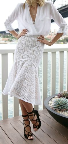 Sheer White & lace skirt.
