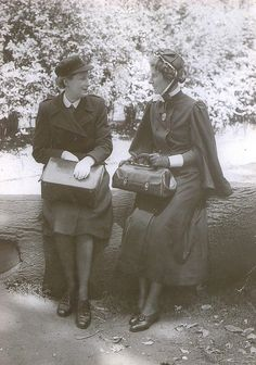 Celebrating the (then) present and past, two nurses pose in uniforms representing the 1950s and the turn of the century in this engaging vintage photograph. #nurse #Victorian #Edwardian #vintage #uniform #1950s