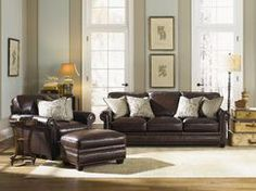 Brown leather seating is what I believe my husband would like to have.