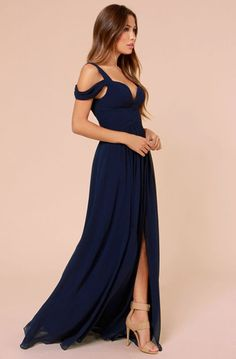 Lovely Clusters Boutique: Bariano Ocean of Elegance Navy Blue Maxi Dress