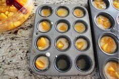 mini peach cobbler  1 cup sugar  1 cup flour  2 tsp baking powder  a dash of salt  3/4 cup milk  1 stick of melted butter  brown sugar  cinnamon  1 can diced peaches