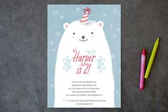 Polar Bear Party Children's Birthday Party Invitations by Four Wet Feet Studio at minted.com
