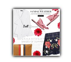 """""""Sandal weather"""" by noconfessions ❤ liked on Polyvore featuring E L L E R Y, N°21, Haute Hippie, Clare V., bellsleeve, necktieblouse and ginghamsandals"""