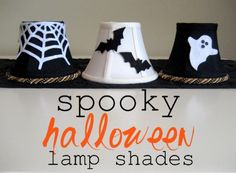Love this easy idea for #Halloween Lamp Shades. Use felt. No glue or tape!