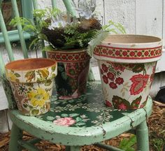 Flower pots, wallpaper, old chairs and decoupage!  Some of my favorite things.  Eat your heart out Oprah!  :)